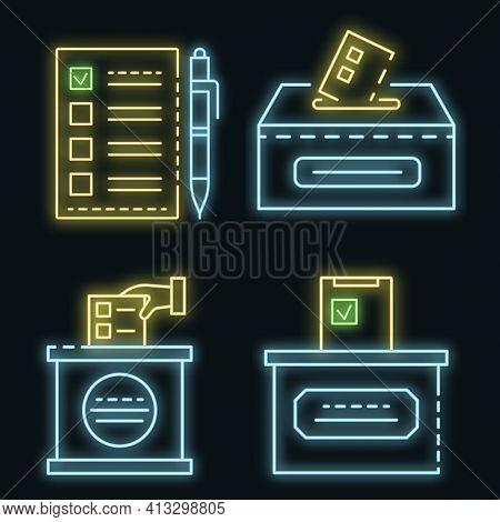 Ballot Icon Set. Outline Set Of Ballot Vector Icons Neon Color On Black