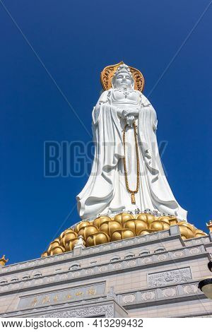 China, Sanya - January 21, 2020: Guan Yin Of The South Sea Of Sanya Statue Againct Blue Sky In Nansh