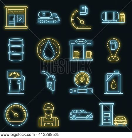 Petrol Station Icon Set. Outline Set Of Petrol Station Vector Icons Neon Color On Black