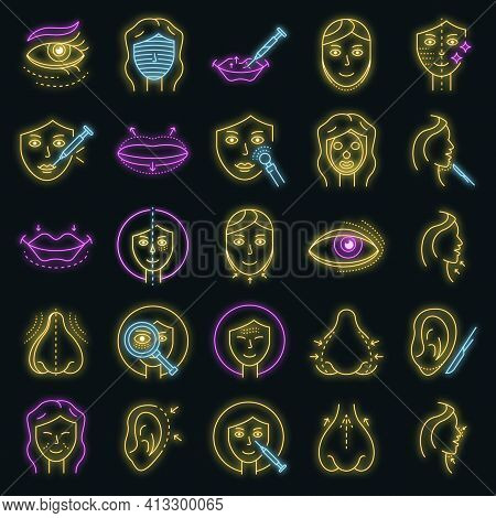 Lifting Facial Icons Set. Outline Set Of Lifting Facial Vector Icons Neon Color On Black