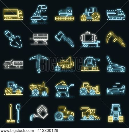 Farming Equipment Icon Set. Outline Set Of Farming Equipment Vector Icons Neon Color On Black