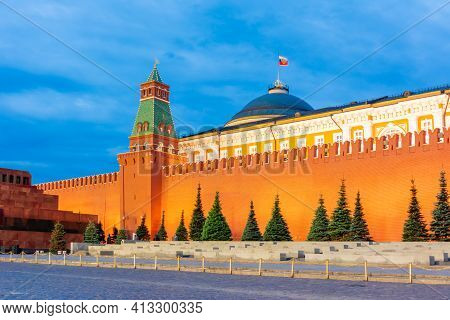 Red Square With Senate Palace At Night, Moscow, Russia