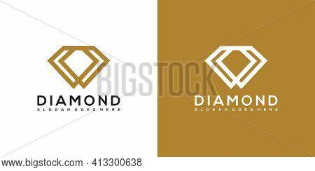 Diamond Logo Vector Designs Mono Line Template Design