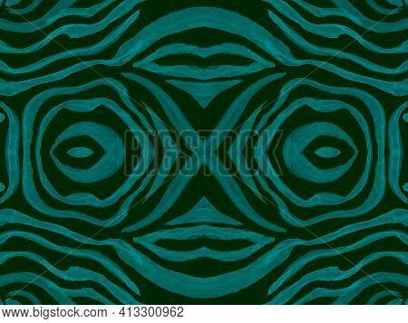 Seamless Ethnic Banner. Fashion Exotic Fabric Design. Geometric Wildlife Wallpaper. Blue Tiger Fur.