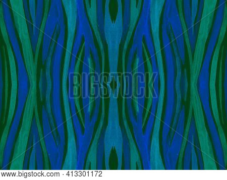 Seamless Ethnic Pattern. Abstract Tribal Textile Design. Geometric African Background. Blue Cheetah