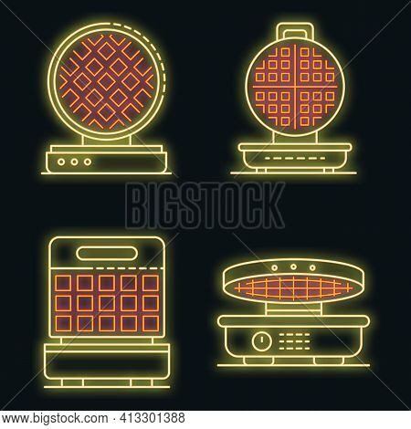 Waffle-iron Icons Set. Outline Set Of Waffle-iron Vector Icons Neon Color On Black