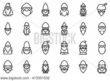Garden Gnome Icon. Outline Garden Gnome Vector Icon For Web Design Isolated On White Background