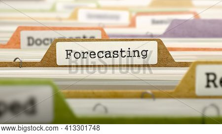 Forecasting Concept On File Label In Multicolor Card Index. Closeup View. Selective Focus. 3d Render