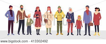Cartoon Group Of Cute Man Woman Kid Characters In Trendy Outerwear Standing In Row, Wearing Warm Coa
