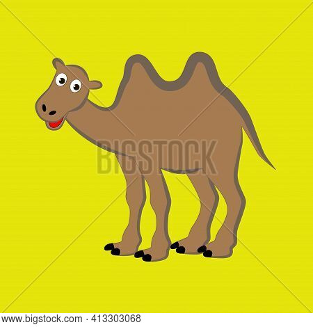 Cartoon Camel With Two Humps Isolated On Yellow Background.
