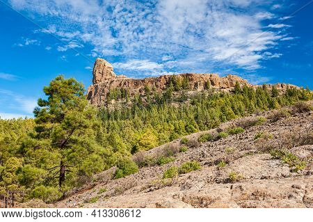 Roque Nublo, Symbolic Natural Monument Of Gran Canaria, Canary Islands. Summer Sunny Day With Blue S