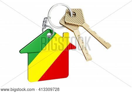 Real Estate In Congo. Home Keychain With Congo Flag. Property, Rent Or Mortgage Concept. 3d Renderin