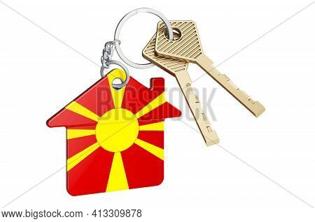Real Estate In Macedonia. Home Keychain With Macedonian Flag. Property, Rent Or Mortgage Concept. 3d