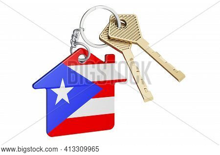 Real Estate In Puerto Rico. Home Keychain With Puerto Rican Flag. Property, Rent Or Mortgage Concept