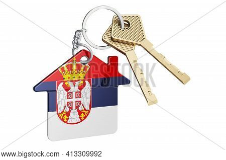 Real Estate In Serbia. Home Keychain With Serbian Flag. Property, Rent Or Mortgage Concept. 3d Rende