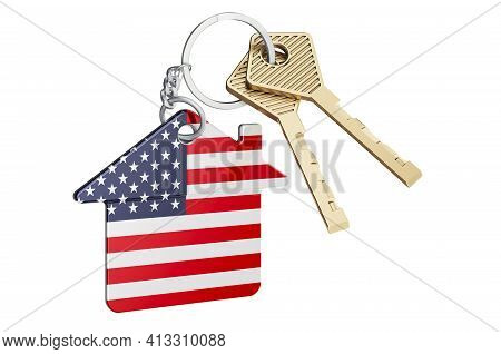 Real Estate In The United States. Home Keychain With The Usa Flag. Property, Rent Or Mortgage Concep