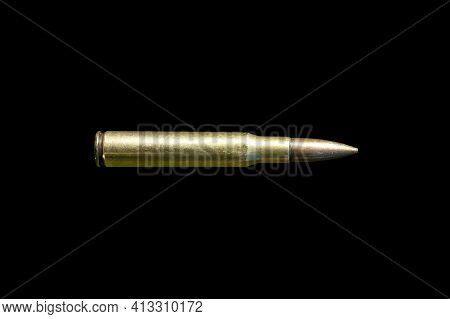 Rifle Bullet Long Cartridge. Army Or Hunting Weapon Shot Object, Violence And Danger Symbol.