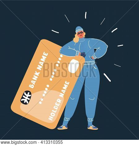Vector Illustration Of Woman Thief Stealing Credit Card On Dark Backround.