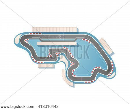 The Race Track From A Top View Is Isolated On A White Background. The Racing Circuit Is Including A