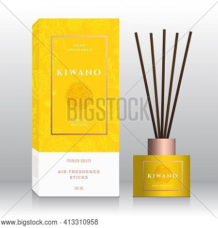 Kiwano Home Fragrance Sticks Abstract Vector Label Box Template. Hand Drawn Sketch Flowers, Leaves B