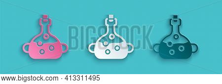 Paper Cut Poison In Bottle Icon Isolated On Blue Background. Bottle Of Poison Or Poisonous Chemical