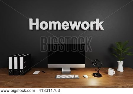 Modern Clean Office Workspace With Computer Screen And Concrete Wall; Homework Lettering; 3d Illustr