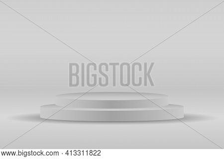 Gray Podium, Platform For Presentation. Presentation Circle Of White Platform, Product Place For Pre