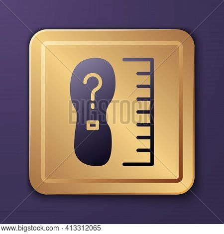 Purple Square Measure Foot Size Icon Isolated On Purple Background. Shoe Size, Bare Foot Measuring.