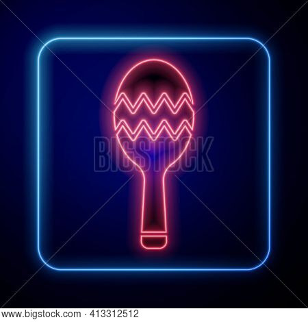 Glowing Neon Maracas Icon Isolated On Black Background. Music Maracas Instrument Mexico. Vector