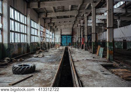 Old Broken Empty Abandoned Industrial Building Interior