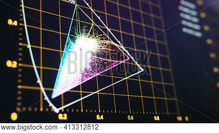 Color Grading Graph Or Rgb Colour Correction Indicator On Monitor In Post Production Process. Teleci