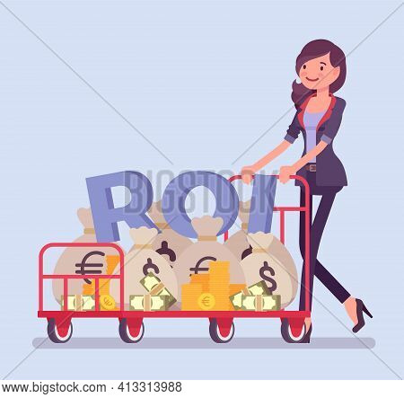 Return On Investment, Roi, Businesswoman Pushing Trolley Full Of Cash. Young Woman With Dollar Sack