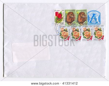 BELARUS - CIRCA 2012: Mailing envelope with postage stamps dedicated to Tulipa gesneriana, Rosa hybrida and Mustela lutreola, circa 2012.