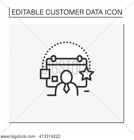 Customer Events Line Icon.emphasize Biggest Achievements, Present New Products Or Keep Good Contact