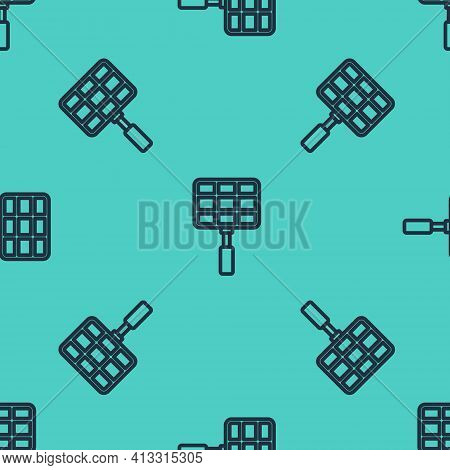 Black Line Barbecue Steel Grid Icon Isolated Seamless Pattern On Green Background. Top View Of Bbq G