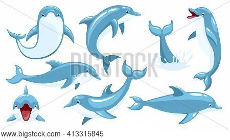 Set Of Cute Dolphins. Cute Blue Dolphins Set, Dolphin Jumping And Performings Tricks With Ball For E