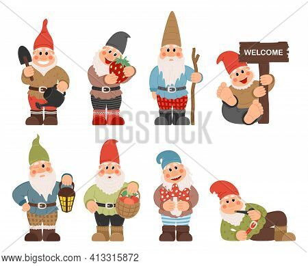 Gnome Characters. Cute Gnomes With Beard Funny Garden Decoration. Classic Garden Gnomes In Colorful