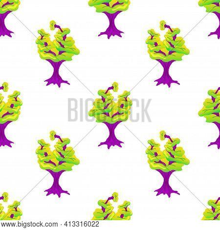 Seamless Pattern With Magic Mushrooms On A White Background. Fantastic Mushroom Pattern Of Purple St