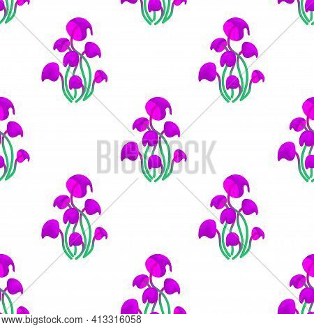 Seamless Pattern With Magic Mushrooms On A White Background. A Fantastic Mushroom Pattern Of Purple