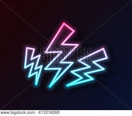 Glowing Neon Line Zeus Icon Isolated On Black Background. Greek God. God Of Lightning. Vector