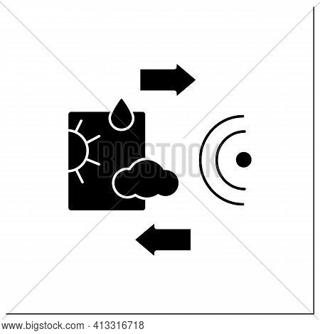 Weather Tracking Glyph Icon. Used To Locate Precipitation, Calculate Its Motion, And Estimate Its Ty