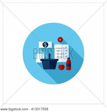 Shopping List Flat Icon. Make Shopping List. Planning Buying. Only Needed Products. Thoughtful Spend