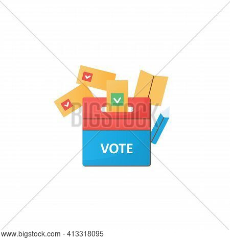 Vote Box Flat Icon. Voting Form With Check Mark In Ballot Box. Choice, Vote Concept. Democracy. Parl