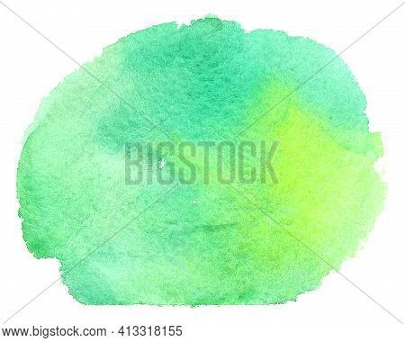 Abstract Green Watercolor Background. Watercolor Grass Green Splash Isolated On White Background. Wa