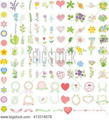 Set Of Wedding Graphic Set- Wreath, Flowers, Arrows, Hearts, Laurel, Ribbons And Labels, Brushes Dep