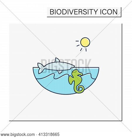 Marine Color Icon. Made Up Of The Saltwater Oceans. Living Place For Shark, Seahorse Etc. Underwater