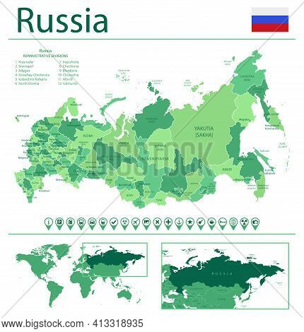 Russia Detailed Map And Flag. Russia On World Map.