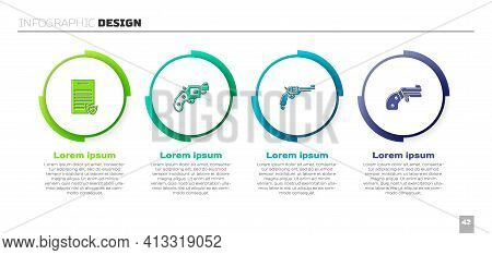 Set Firearms License Certificate, Small Gun Revolver, Revolver And . Business Infographic Template.