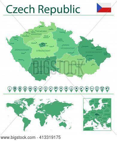 Czech Republic Detailed Map And Flag. Czech Republic On World Map.