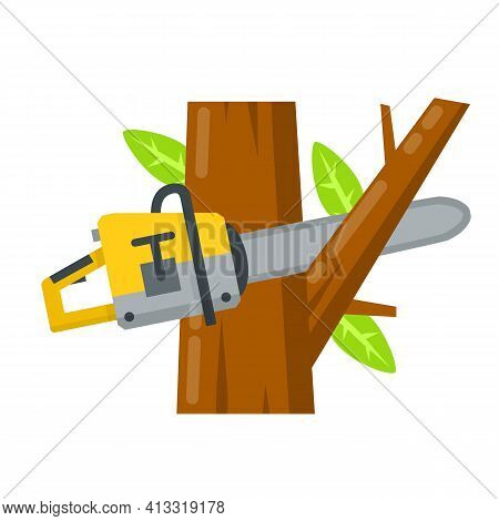 Saw Cut Tree Branch. Woodcutter Operation. Harvesting Of Logs. A Rural Object. Flat Cartoon Illustra